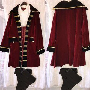 Mens Captain Hook Pirate Coat Costume 3XL Red Blac